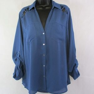 Candie's Womens' XL Semi Sheer Button Front Blouse